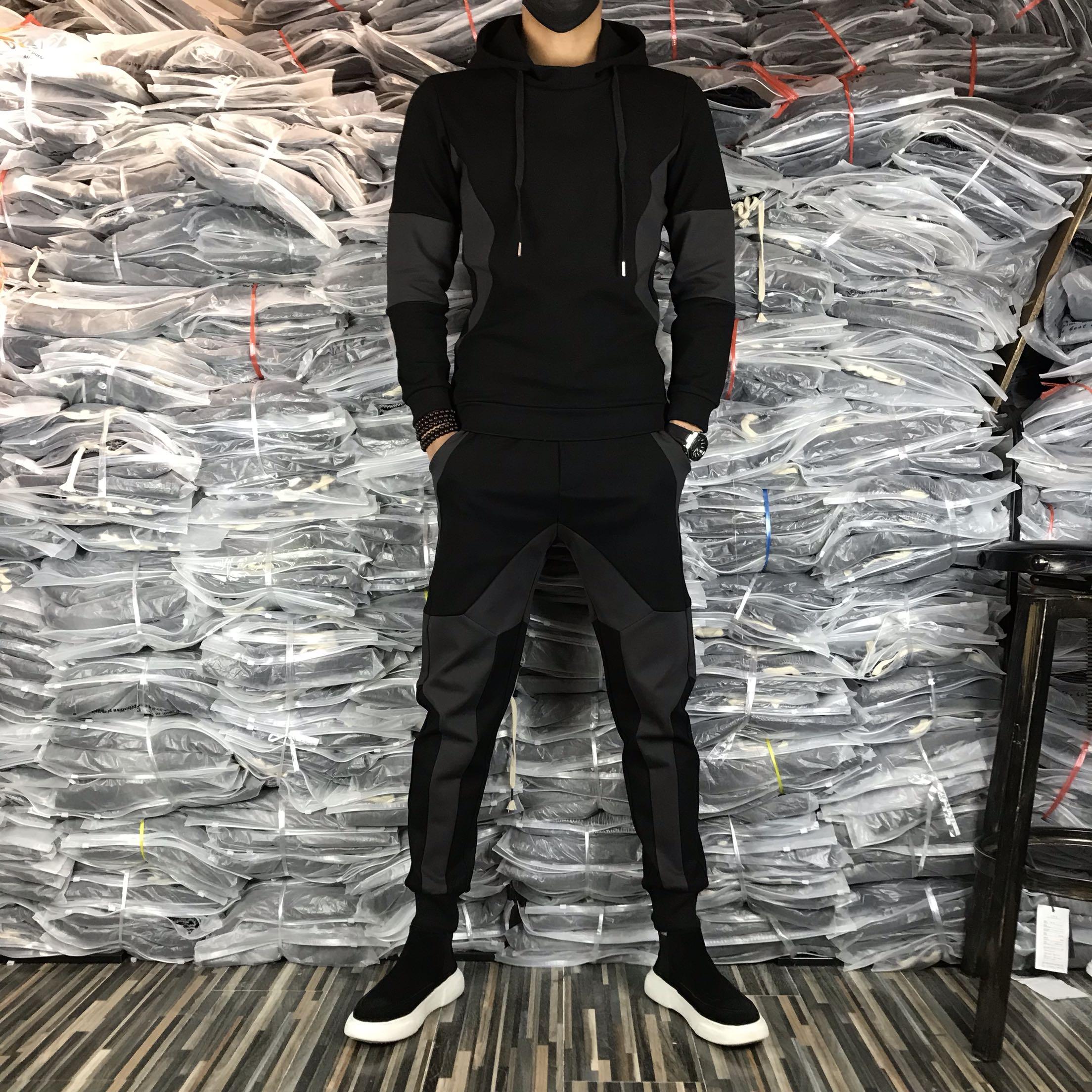 00115秋冬男士休闲套装时尚潮流拼接修身保暖加绒卫衣运动两件套