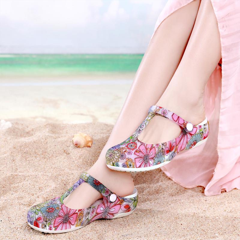 2019新款洞洞鞋女夏百搭韩版厚底防滑果冻平跟印花孕妇凉鞋沙滩