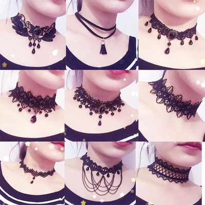 taobao agent Korean version of lace necklace fashion cd change decoration female short clavicle chain sexy Japanese and Korean trend pseudo-girl necklace