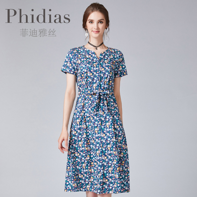 Phidias2019夏季新款商场同款街头短袖圆领纯棉碎花中款连衣裙