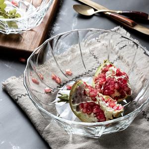 北欧风格玻璃水果盘零食糖果干果篮水晶碗创意现代客厅家用茶几盆