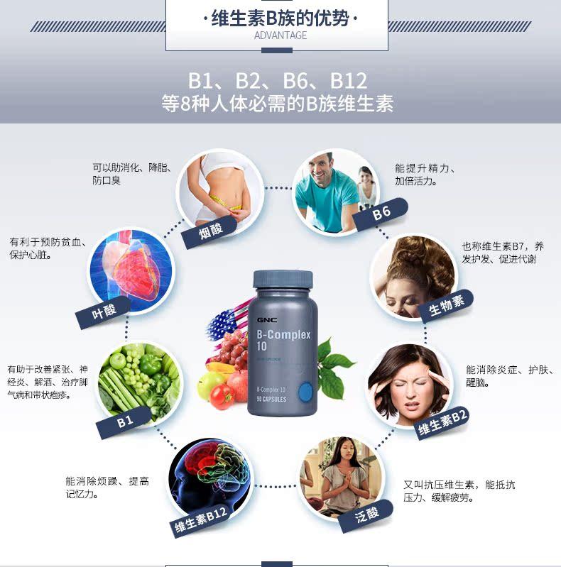 临期GNC健安喜维生素B族胶囊10*90粒缓解疲劳提升精力熬夜必备 维生素、矿物质 第5张