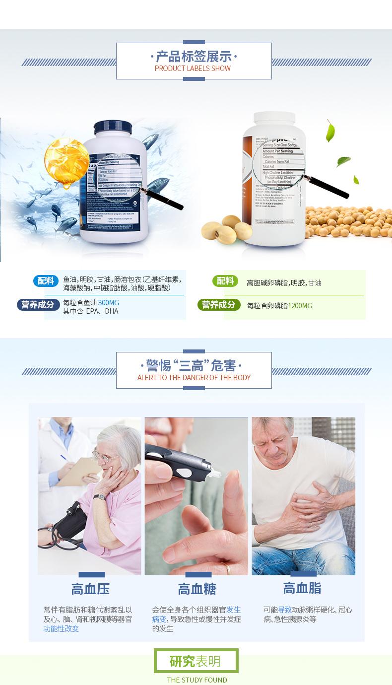 GNC健安喜三重卵磷脂180粒+深海鱼油360粒中老年预防三高调脂护肝 鱼油 第2张