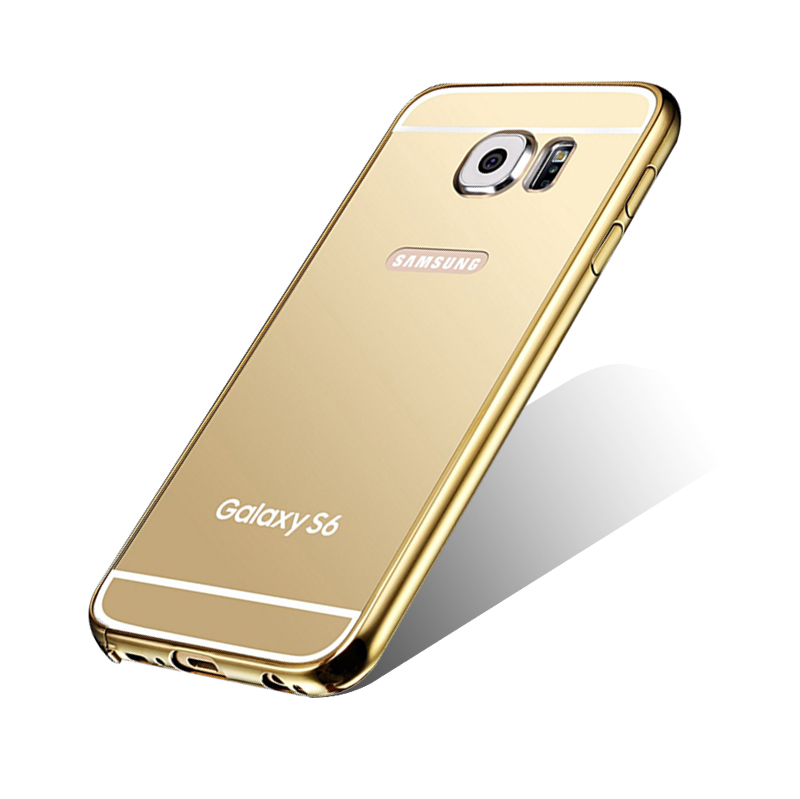 KXX Luxury Electroplate Stainless Steel Metal Bumper Acrylic Mirror Back Cover Case for Samsung Galaxy S6 Edge Plus