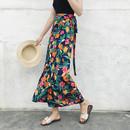 夏季一片式不规则围裹系带半身裙