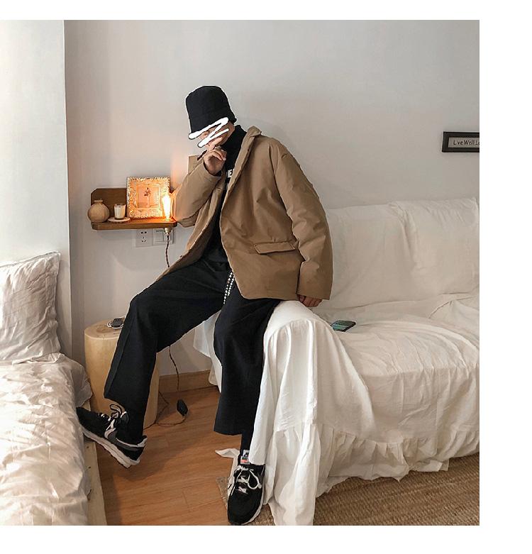 秋冬季西装棉衣潮流男士宽松棉服纯色西服棉服保暖外套MF918P128