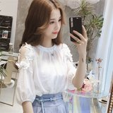 Summer Korean version of the new loose white noodle short-sleeved chiffon shirt female wild temperament is thin