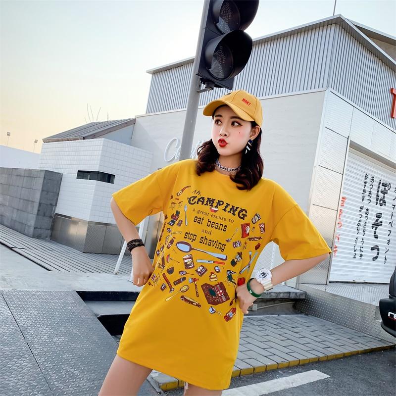 【棉95%】网红中长款情侣T恤