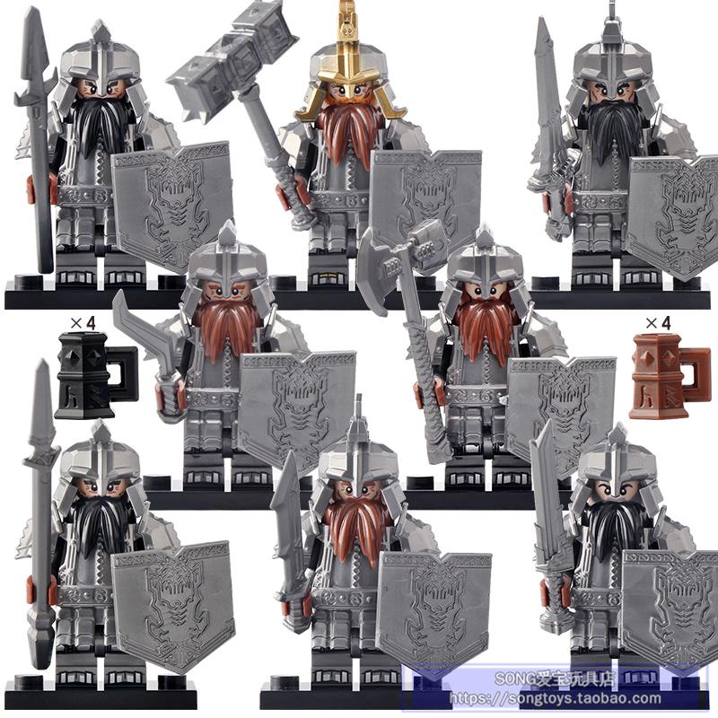 KT1040中古系列霍比特人士兵矮人王战士积木人仔公仔拼装儿童玩具