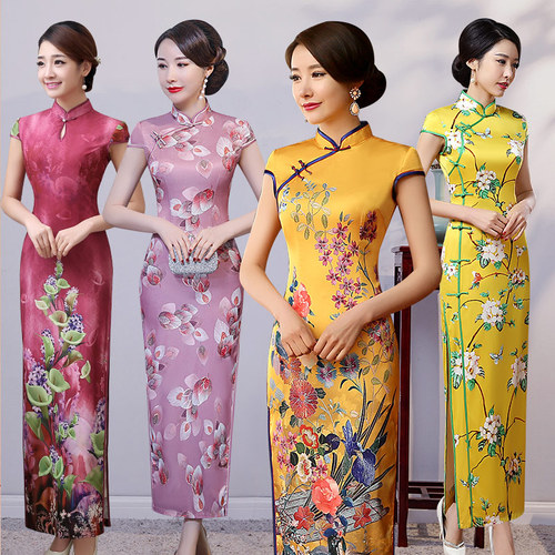 Chinese Dress Qipao for women Cheongsam Chinese style young girl's long style retro elegant show new style dress of cheongsam version