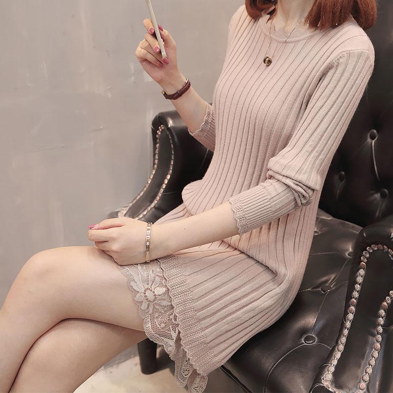 2018秋冬新款中长款毛衣女下摆蕾丝低领打底衫修身针织衫连衣裙女