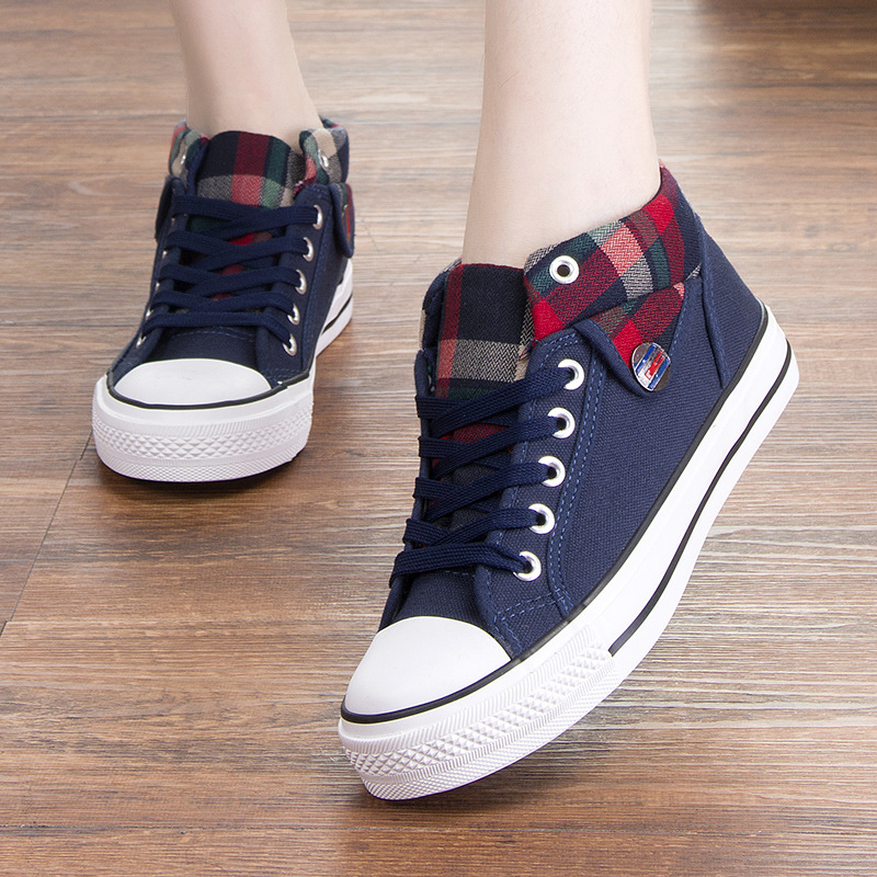 757a963e0e2 Canvas shoes female students Korean version of the spring and Autumn high  to help denim shoes flat casual sports shoes cute girl shoes