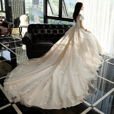 Свадебное платье Слово плечо Атласа свадебное