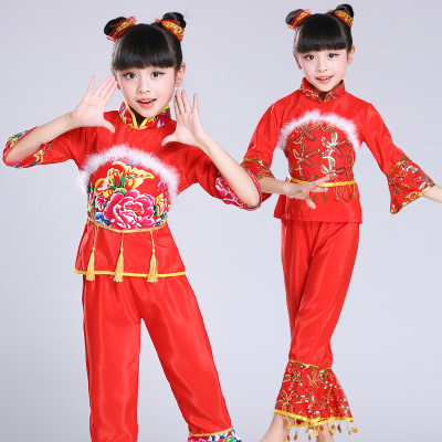 Children's national dances, Yangko suits, Chinese style handkerchief dance, children's performance costumes, boys and girls