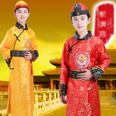 Children's Qing Dynasty costume, boy, little emperor, Prince Beller, Manchu minority boy, ancient costume.