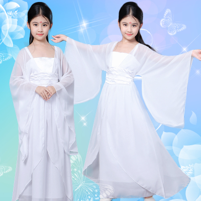 Children, little dragon girl, ancient costume, fairy, white classical dance, Jiangnan elegant exercise suit, cool dance performance costume.
