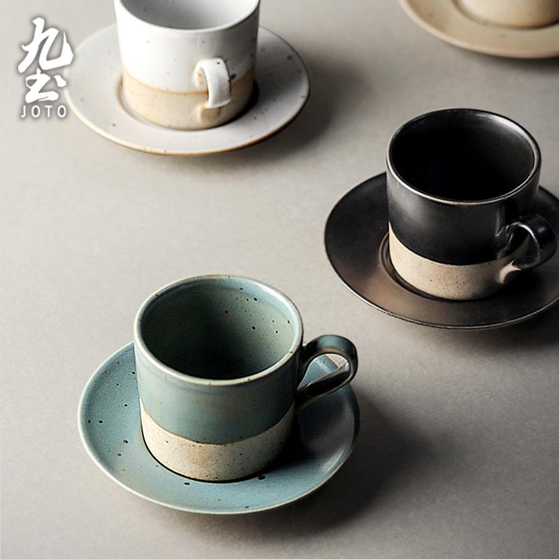 تسعة التربة جوتو فنجان القهوة اليابانية رائعة مع الصحن مجموعة اليدوية الرجعية كوب إيطالي والصحن الشاي بعد الظهر شخصية الحجري
