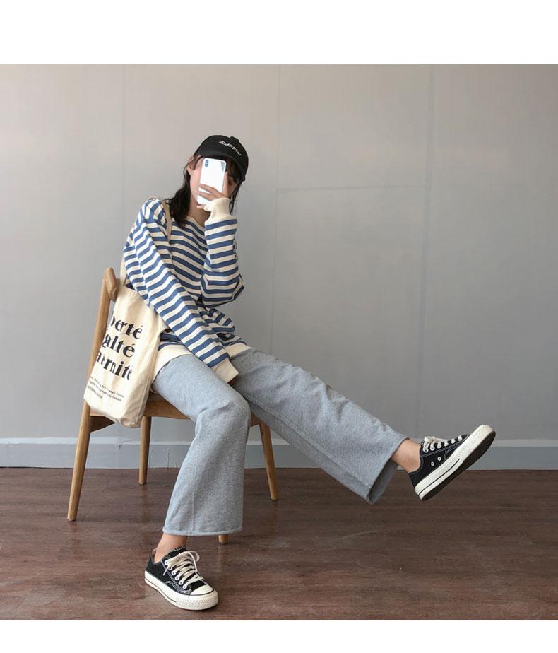 灰色运动裤女高腰垂感2020新款夏季薄款ins潮休闲宽松直筒阔腿裤商品详情图