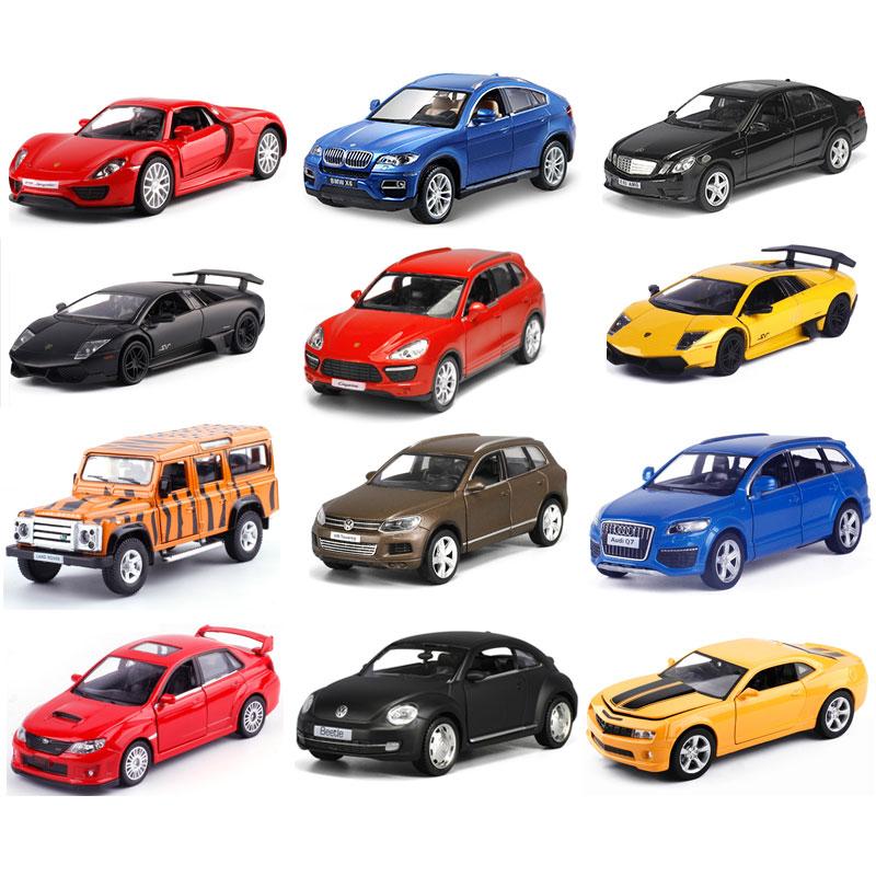 1:36儿童合金汽车模男孩小汽车模型越野车跑车仿真回力开门玩具车