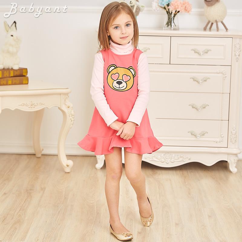 五折!高端童装儿童秋冬新款女童裙子小童纯棉荷叶边小熊背心裙