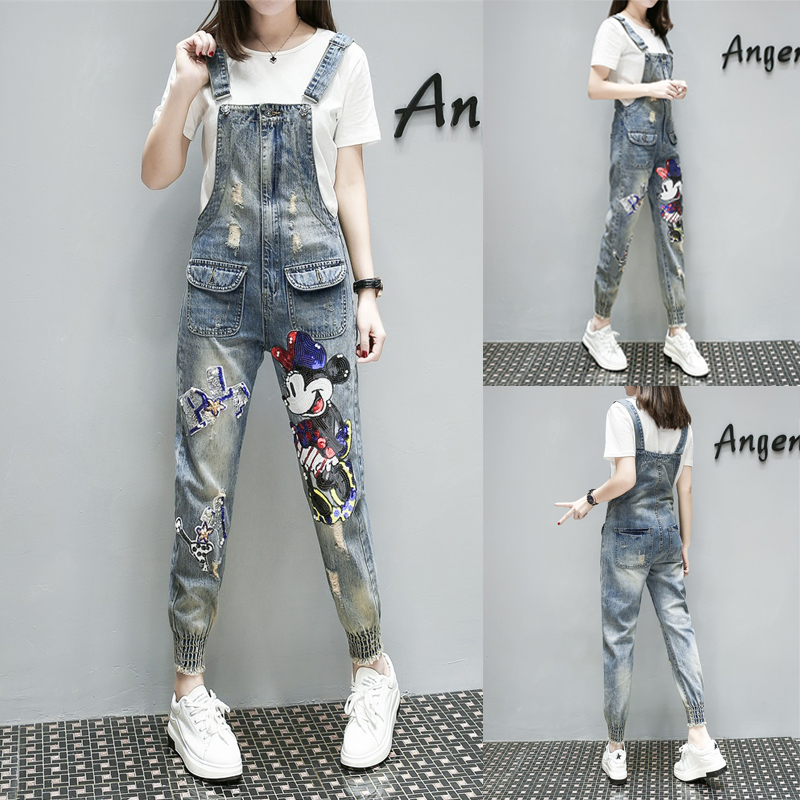 Photo Shoot Europe Station Spring New Nail Bead Sequins, Loose Hole Jeans, Nine Jeans Braces S M L XL Spring  - Years Of Age
