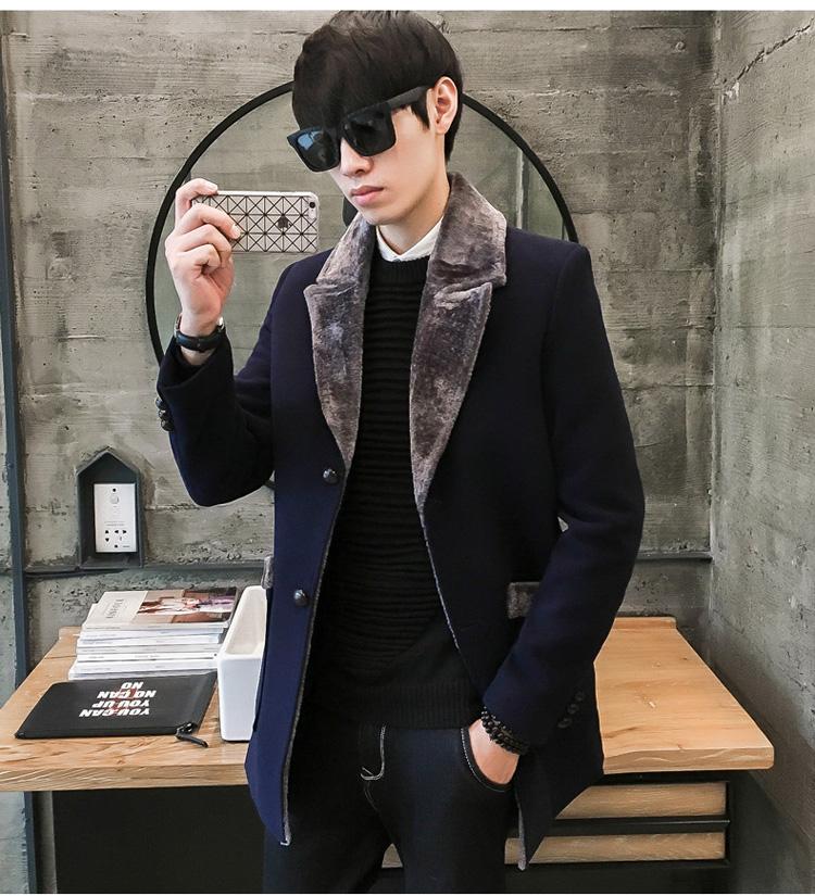 Đặc biệt hàng ngày trong phần dài của ve áo len áo khoác nam mới dày lên lông tơ một để giữ ấm triều trench coat