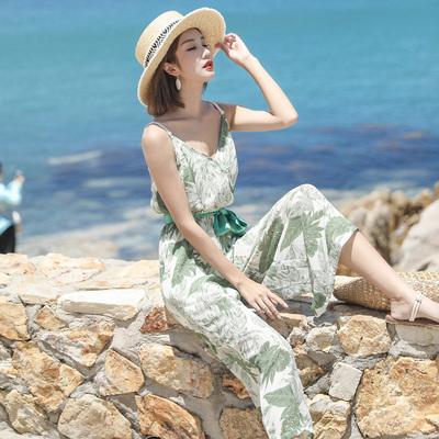 巴厘岛海边度假小清新碎花吊带沙滩裙裤连体阔腿裤波西米亚九分裤