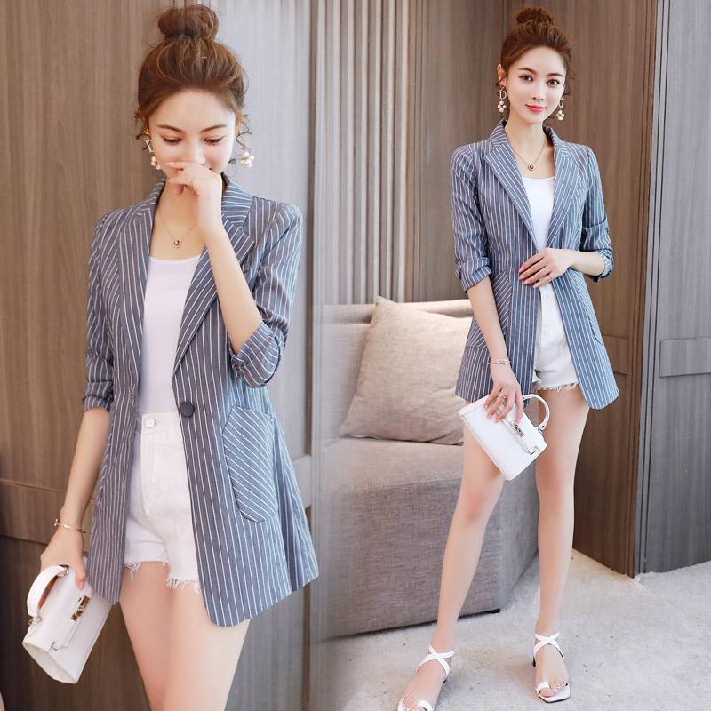 chic小西装外套女中长款2018夏季新款韩版修身七分袖薄条纹西服潮