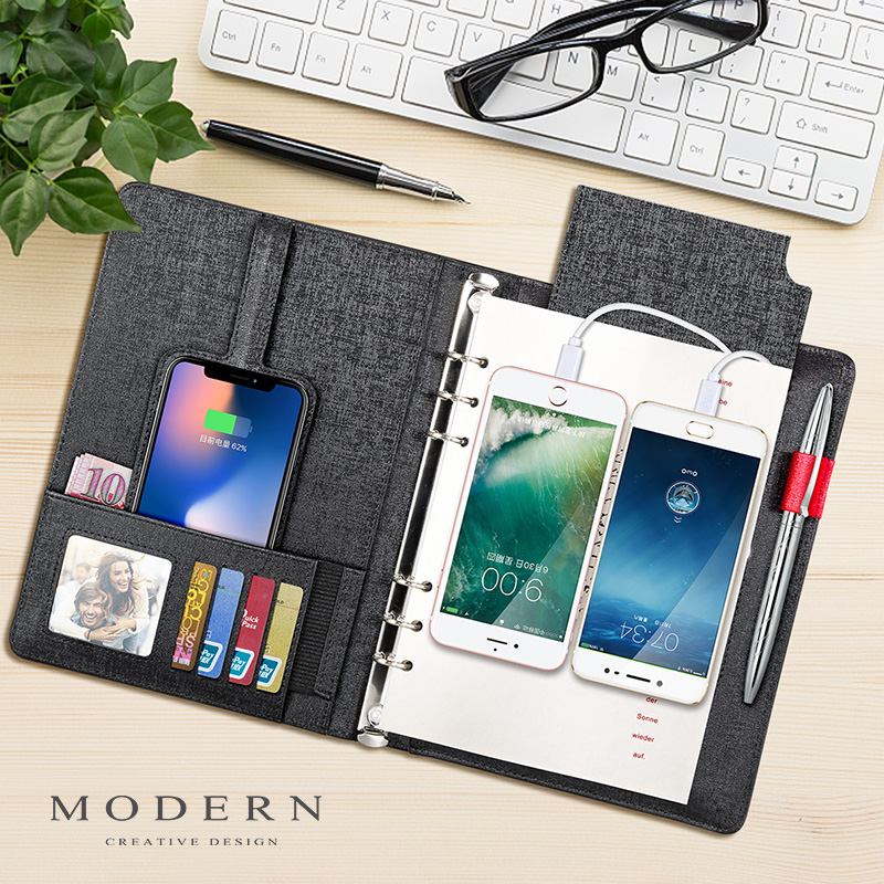 Germany Modern wireless charging notebook business mobile power notepad a5  loose-leaf hard leather handwritten copy