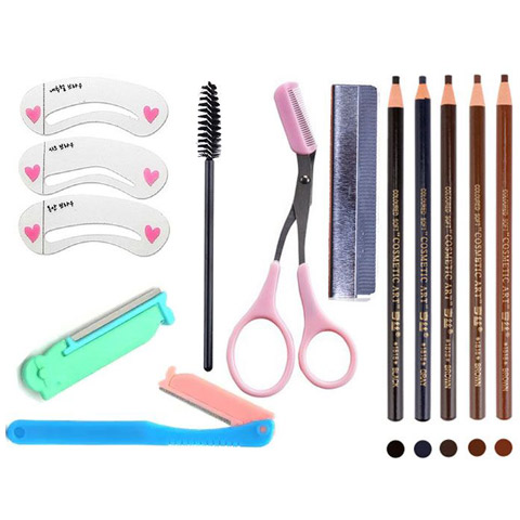 (Everyday special price) brow pen card eyebrow shear eyebrow brush repair eyebrow knife combination 6 pieces repair brow set eyebrow swept a word