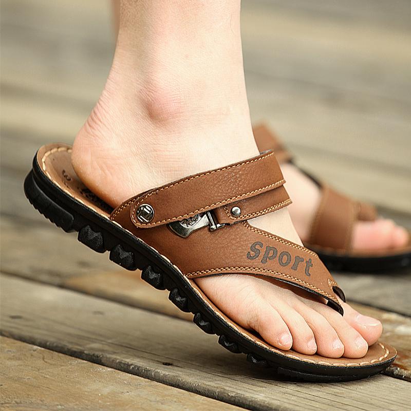 Лето сандалии мужчина клип носок мужской сандалии волна песчаный пляж обувной толстая корка сандалии мужчина случайный воздухопроницаемый кожа прохладно шлепанцы мужская обувь