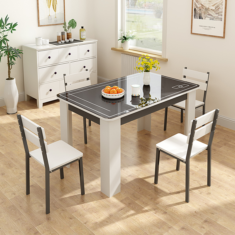 Table And Chair Combination Modern Simple Rectangular Tempered