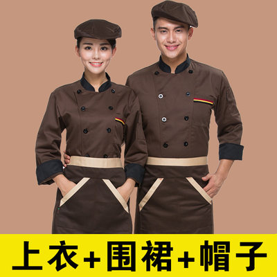 Chef Workwear men's long sleeve autumn and winter restaurant after kitchen pastry baking hot pot hotel dining waiter female