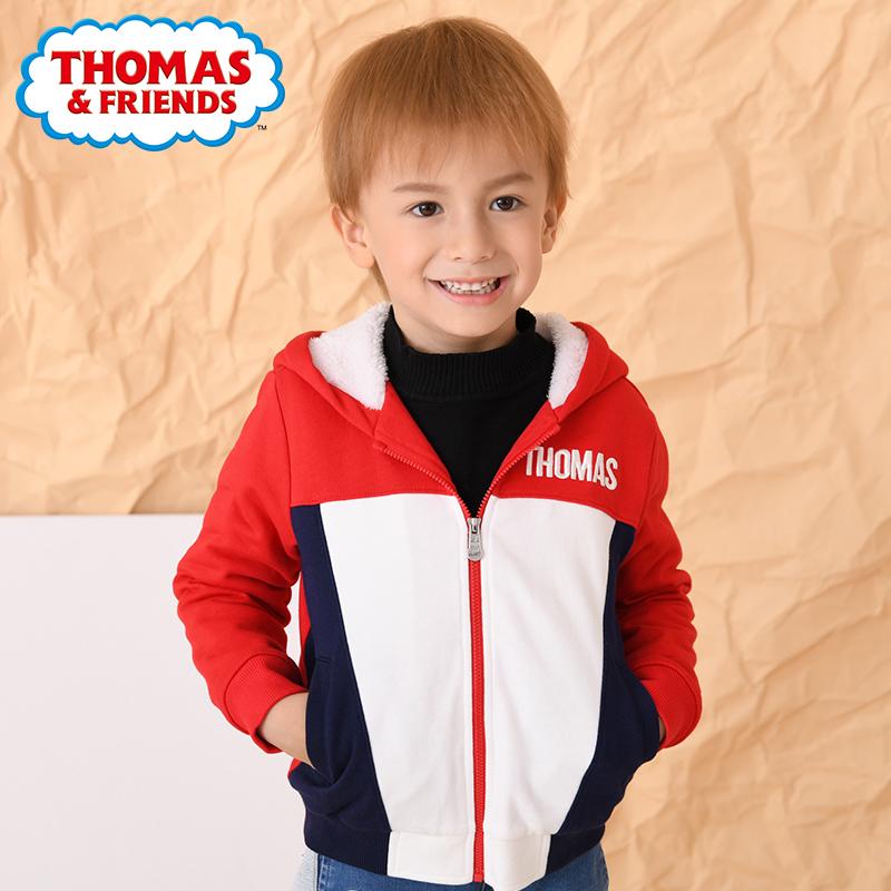 托马斯童装男童秋冬2019新款儿童中大童休闲加厚外衣珊瑚绒外套衫