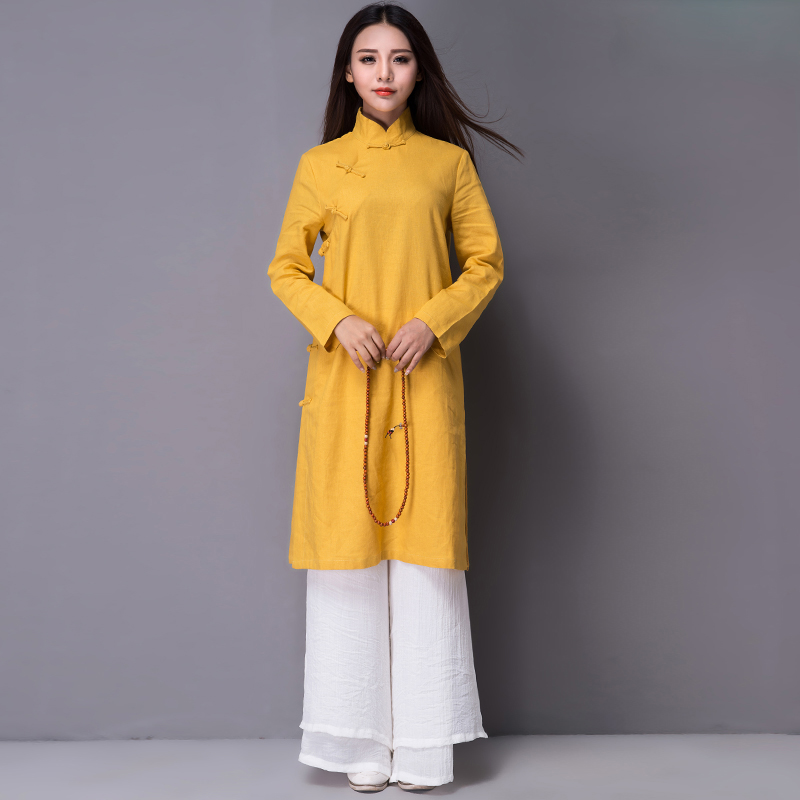 ee2c0a02379 Spring and autumn women s Tang dress cotton and linen Zen tea dress cheongsam  shirt retro women s Chinese style improved hanfu plate buckle Chinese style