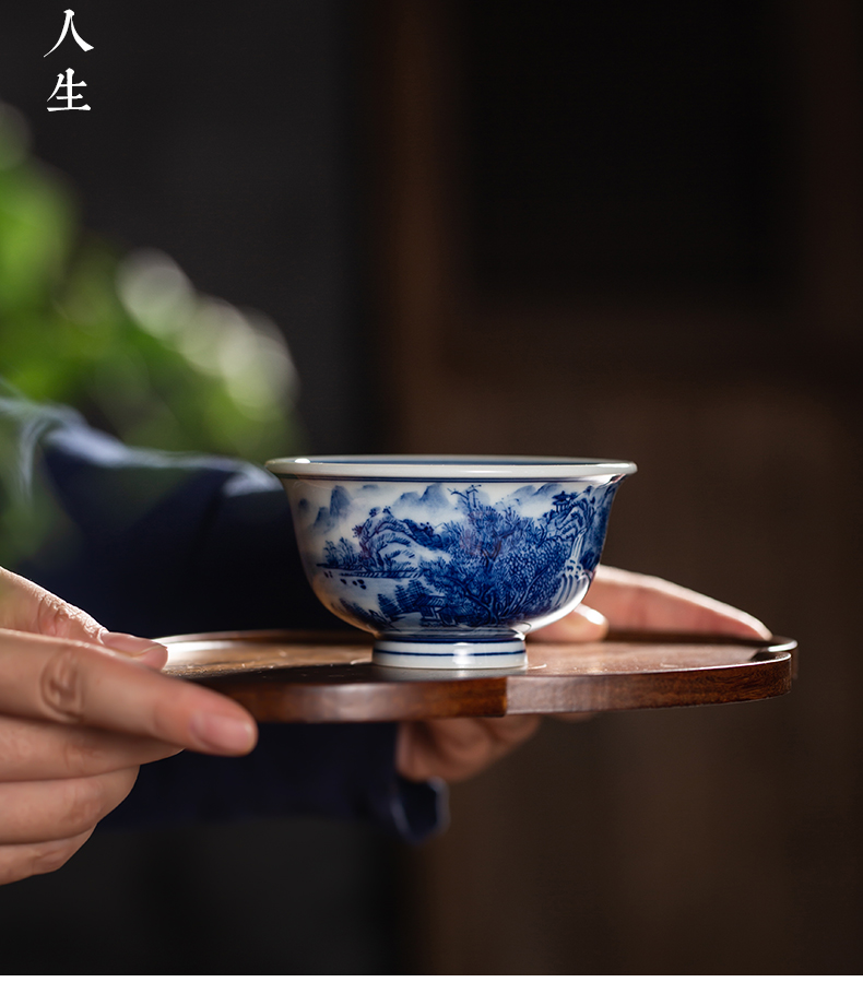 Blue and white master cup yongle pressure hand cup single CPU hand - made scenery of Blue and white porcelain cup pure manual jingdezhen ceramic cup