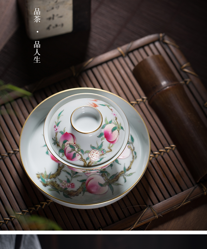 Hand made enamel pastel color only three tureen tea cups jingdezhen ceramics by Hand make tea bowl large single peach