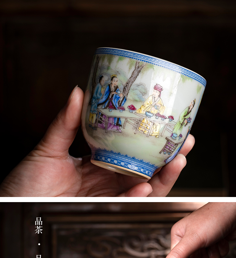 Colored enamel cup bowl jingdezhen ceramic masters cup of pure manual hand - made traditional antique figures in a single CPU