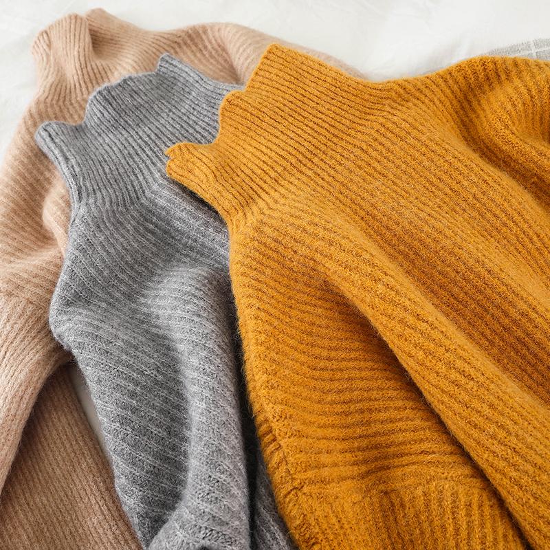 P009 тендер ветер сваи воротник свитер женский осенний зима свободный верхняя одежда 2019 корейский твердый простой хеджирование свитер 609175770904