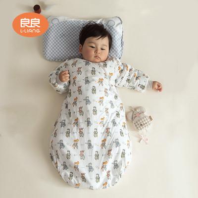 良良婴儿睡袋宝宝春秋季纯棉防踢被四季通用款儿童秋冬一体睡袋