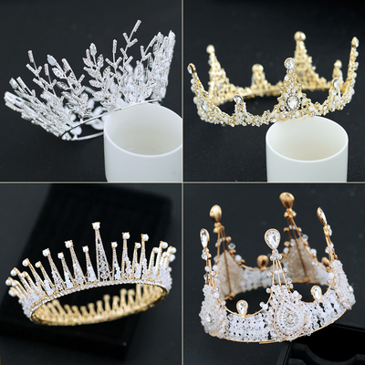 Chinese costume hair accessories Bride Crown Headdress Simple Wedding Garment Accessories Luxury Baroque Atmospheric Round Princess Korean Style