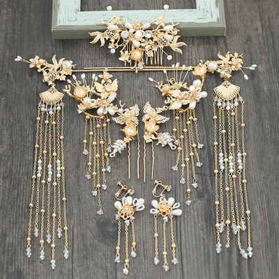 Chinese costume hair accessories Bride's Antique Headdress Golden Hair Suit for Chinese Wedding
