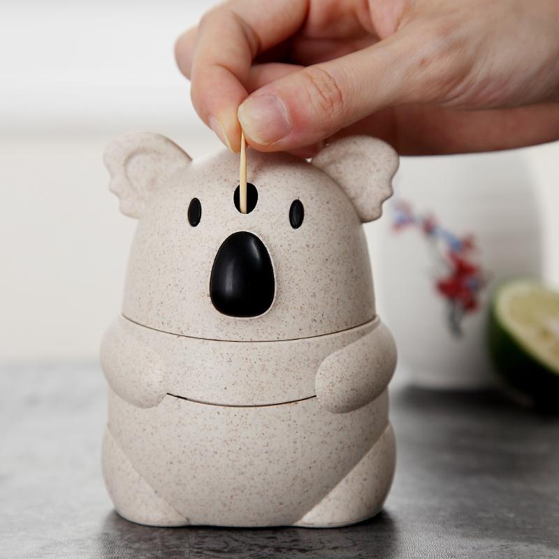 手压自动牙签筒小麦牙签可爱客厅盒考拉按压式家用创意牙签罐便携