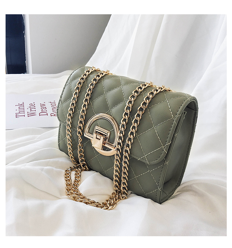 Fashion Small Square Bag Handbag 2019 High-quality PU Leather Chain Mobile Phone Shoulder bags Green one size 42