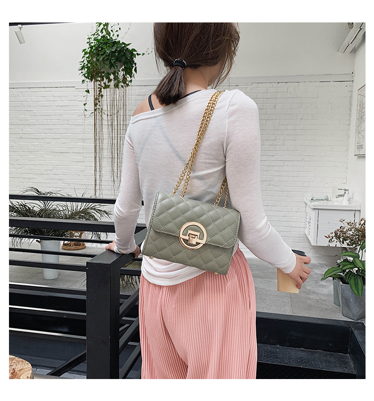 Fashion Small Square Bag Handbag 2019 High-quality PU Leather Chain Mobile Phone Shoulder bags Green one size 11