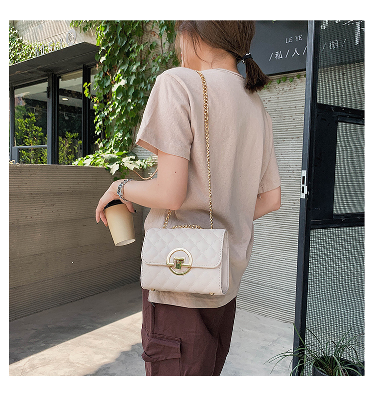 Fashion Small Square Bag Handbag 2019 High-quality PU Leather Chain Mobile Phone Shoulder bags Green one size 17