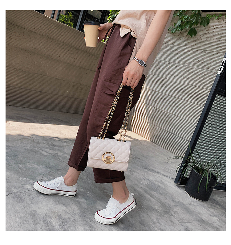 Fashion Small Square Bag Handbag 2019 High-quality PU Leather Chain Mobile Phone Shoulder bags Green one size 19