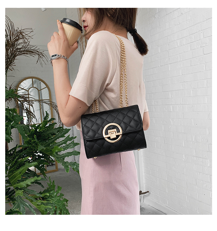 Fashion Small Square Bag Handbag 2019 High-quality PU Leather Chain Mobile Phone Shoulder bags Green one size 30
