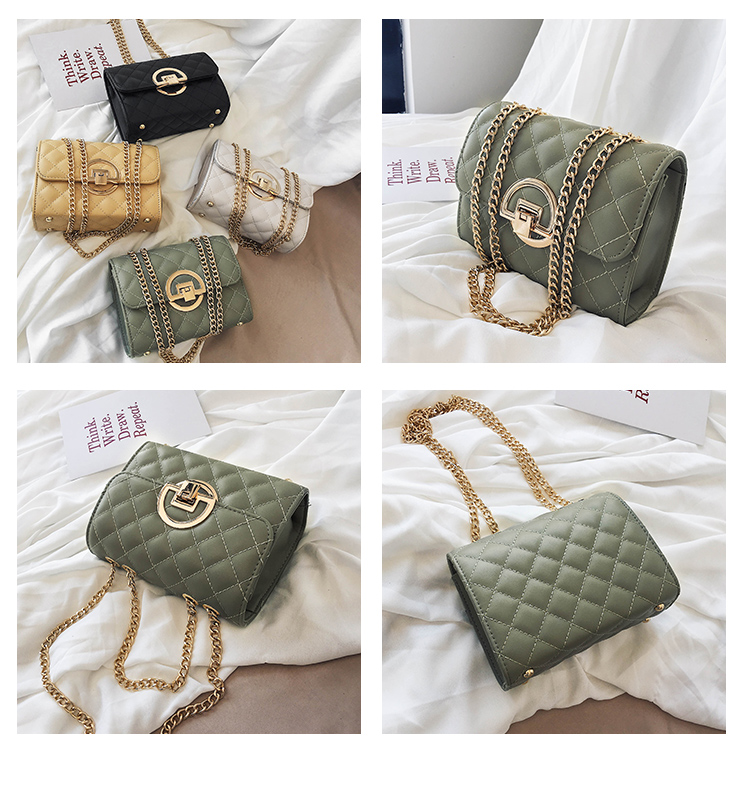 Fashion Small Square Bag Handbag 2019 High-quality PU Leather Chain Mobile Phone Shoulder bags Green one size 3