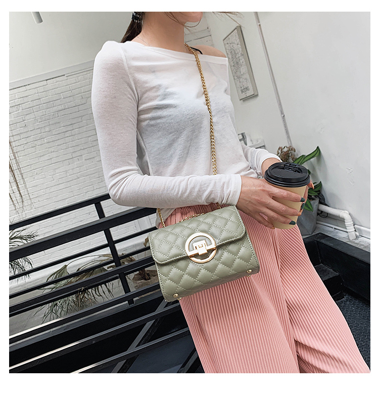 Fashion Small Square Bag Handbag 2019 High-quality PU Leather Chain Mobile Phone Shoulder bags Green one size 5